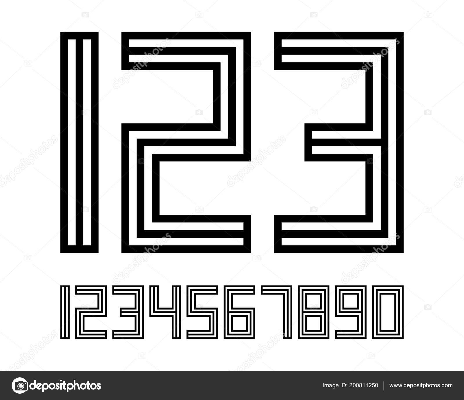 Geometric Font Line Digital Effect Design Numbers Space
