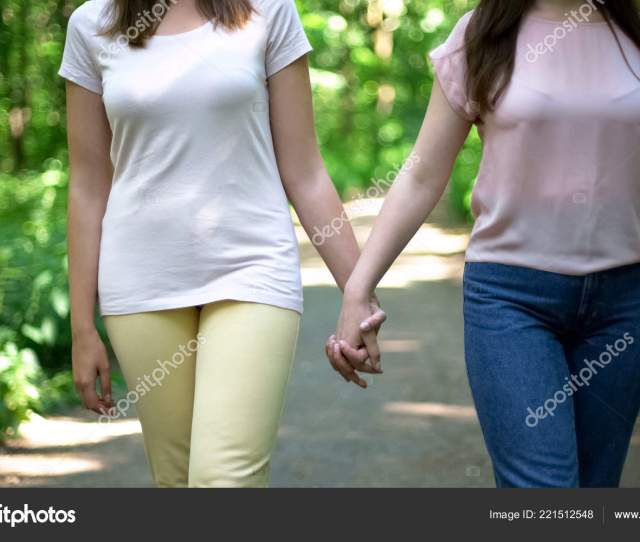 Lesbian Couple Walking Together Holding Hands Free Choice Love Prejudice Stock Photo