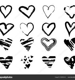drawn grunge hearts for design use black sketch elements on white background abstract brush ink marker pencil drawing vector icon stock clipart  [ 1600 x 1433 Pixel ]