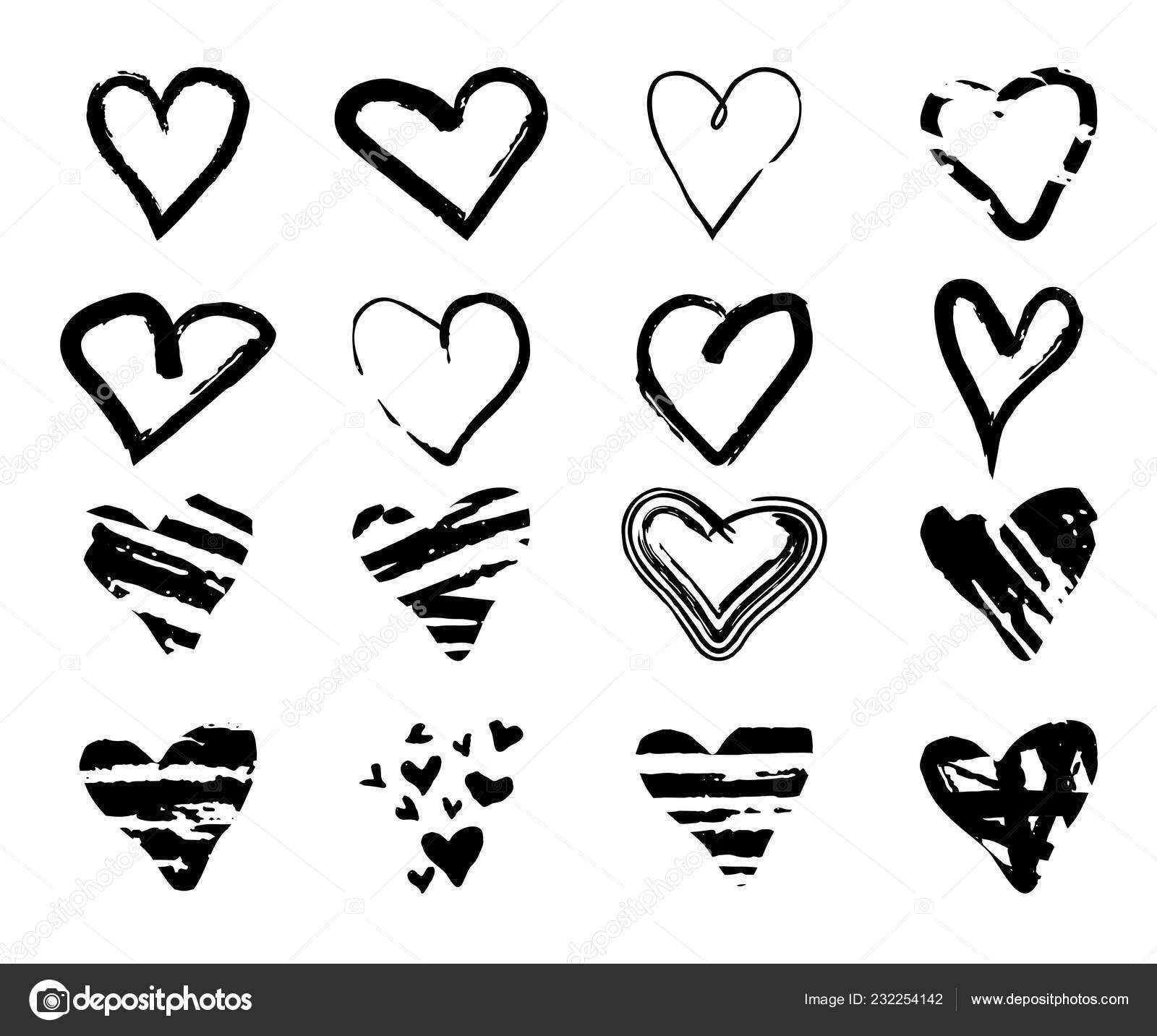 hight resolution of  drawn grunge hearts for design use black sketch elements on white background abstract brush ink marker pencil drawing vector icon stock clipart