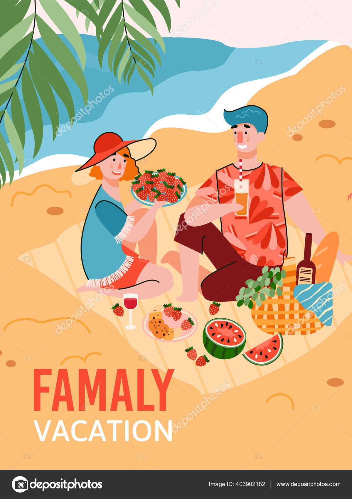 Family Vacation Banner Or Poster With Picnic Scene Cartoon Vector Illustration Stok Vektor C Rumka Vodki 403902182