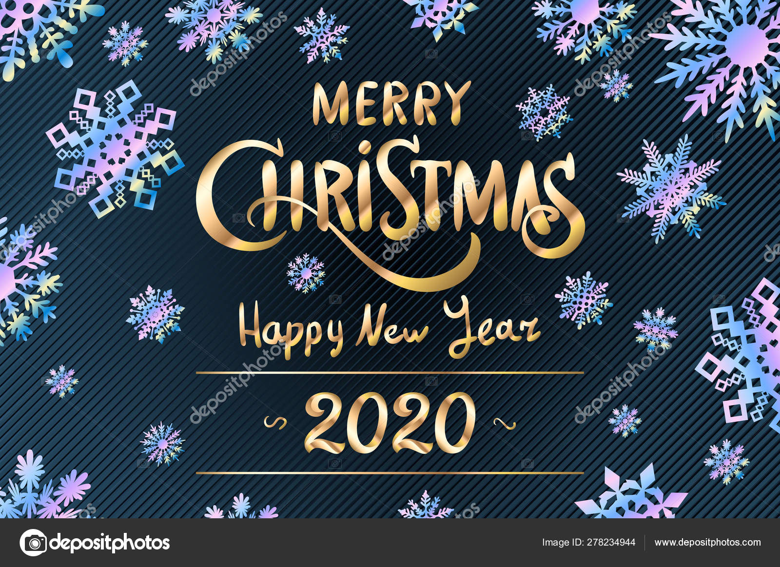 Merry Christmas and Happy New Year 2020 lettering template. Greeting card invitation with blue snowflakes. Winter holidays related typographic ...