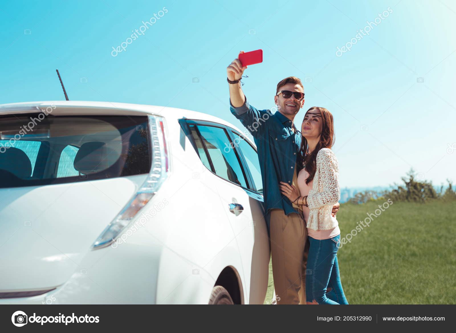 Schöne Moderne Geschäftsmann Selfie Mit Freundin Machen