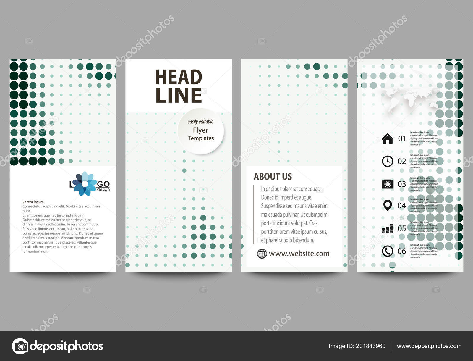 Flyers Set, Modern Banners. Business Templates. Cover Design Template, Easy  Editable Abstract Vector Layouts. Halftone Dotted Background, Retro Style  Grungy