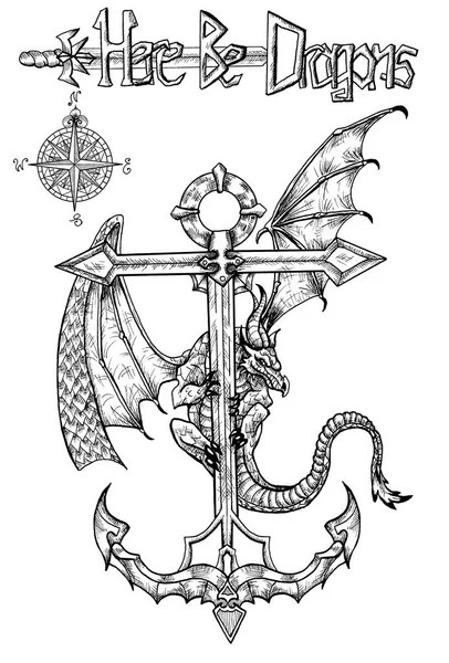 Dragon Outline Drawing : dragon, outline, drawing, Dragon, Outline, Pictures,, Stock, Photos, Images, Depositphotos®