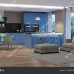 Lighting Kitchen Tile Backsplash Ideas 现代房子内部蓝色的厨房晚上照明 图库照片 C Artemp1 209627284