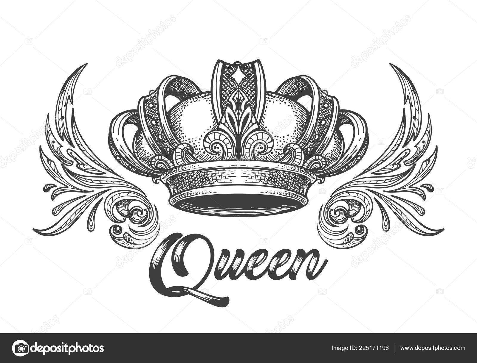 Hand Drawn Queen Crown Vintage Engraving Style Vector