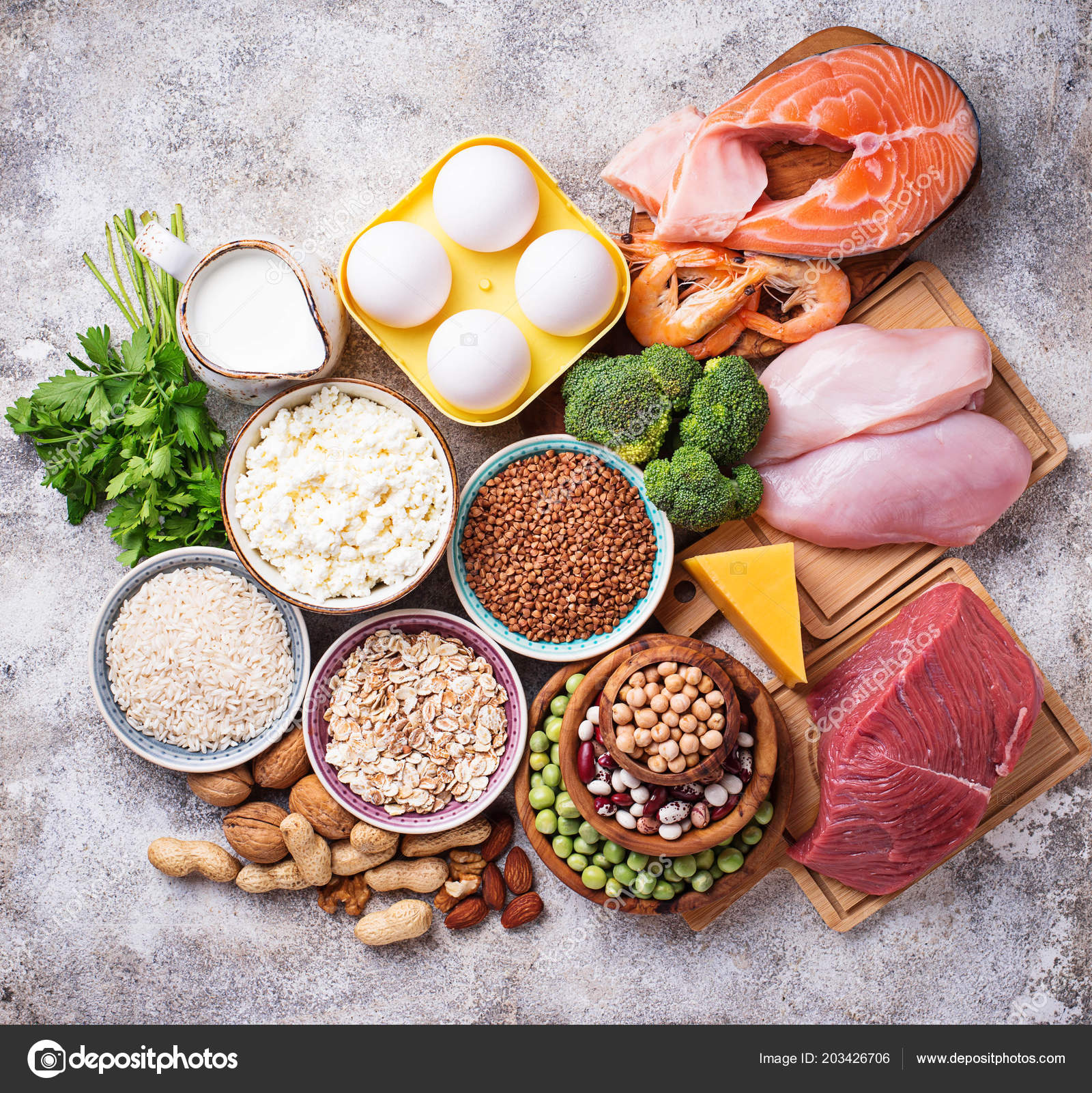 Healthy Food High Protein Meat Fish Dairy Products Nuts