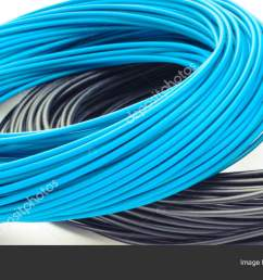 blue and black cables on white background electrical components for installation stock image [ 1600 x 804 Pixel ]