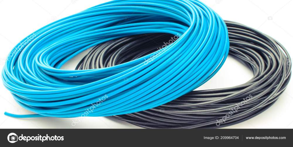 medium resolution of blue and black cables on white background electrical components for installation stock image