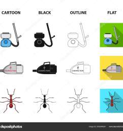 cockroach and equipment for disinfection cartoon black outline flat icons in set collection for design pest control service vector symbol stock  [ 1600 x 1501 Pixel ]