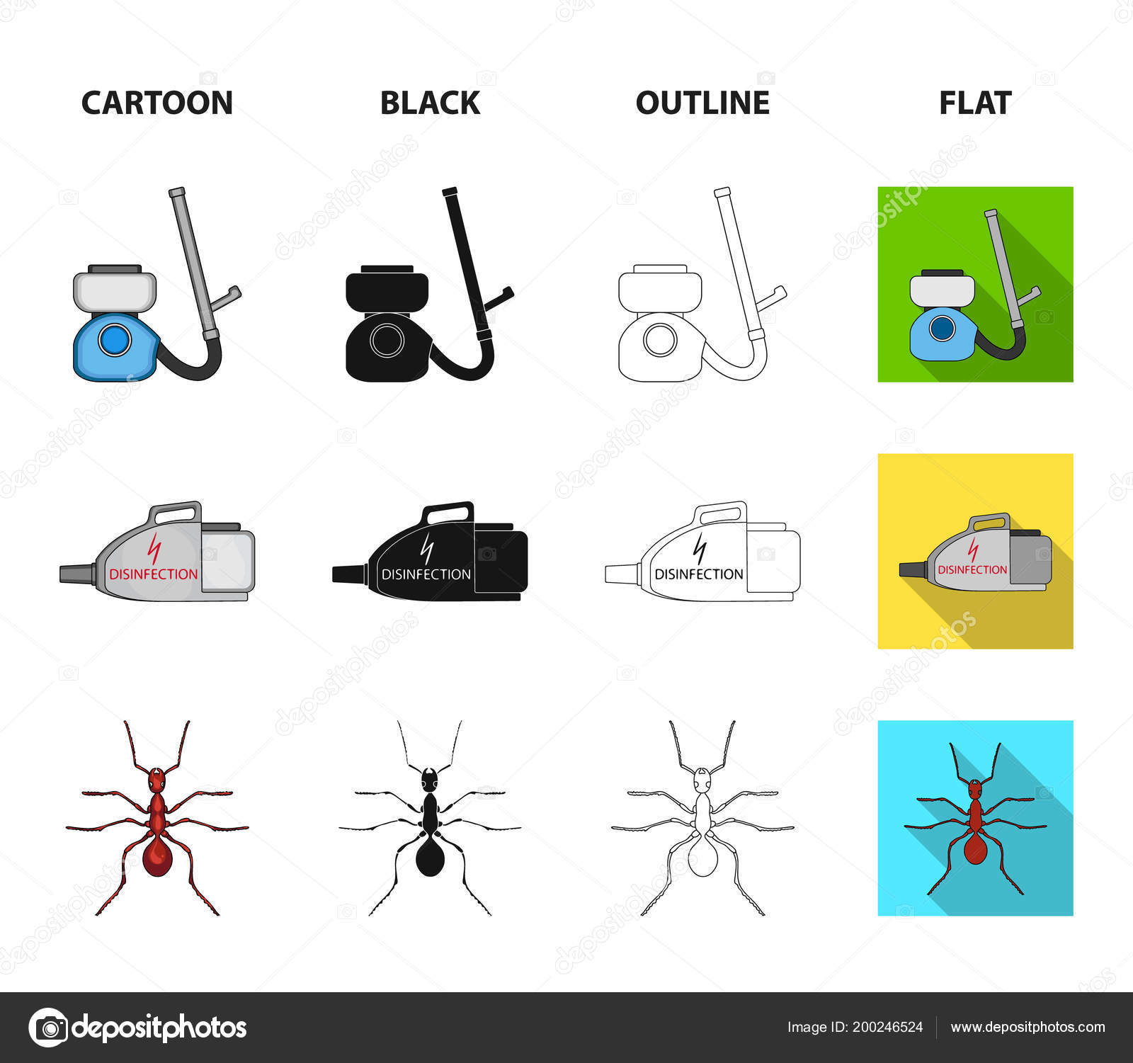 hight resolution of cockroach and equipment for disinfection cartoon black outline flat icons in set collection for design pest control service vector symbol stock