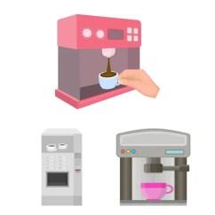 Kitchen Inventory Single Faucet 咖啡和机器符号的独立对象 收集咖啡和厨房库存符号的网络 图库矢量图像