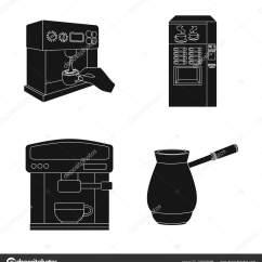 Kitchen Inventory Storage Cabinets 咖啡和机器符号的独立对象 收集咖啡和厨房库存符号的网络 图库矢量图像