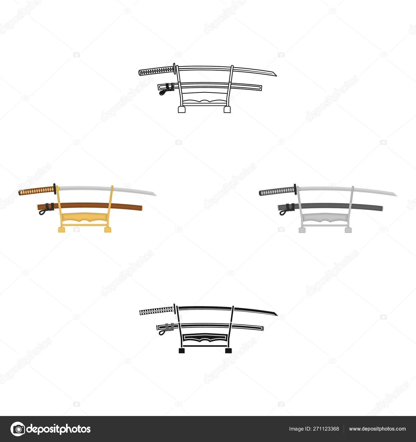 hight resolution of katana icon in cartoon black style isolated on white background japan symbol stock vector