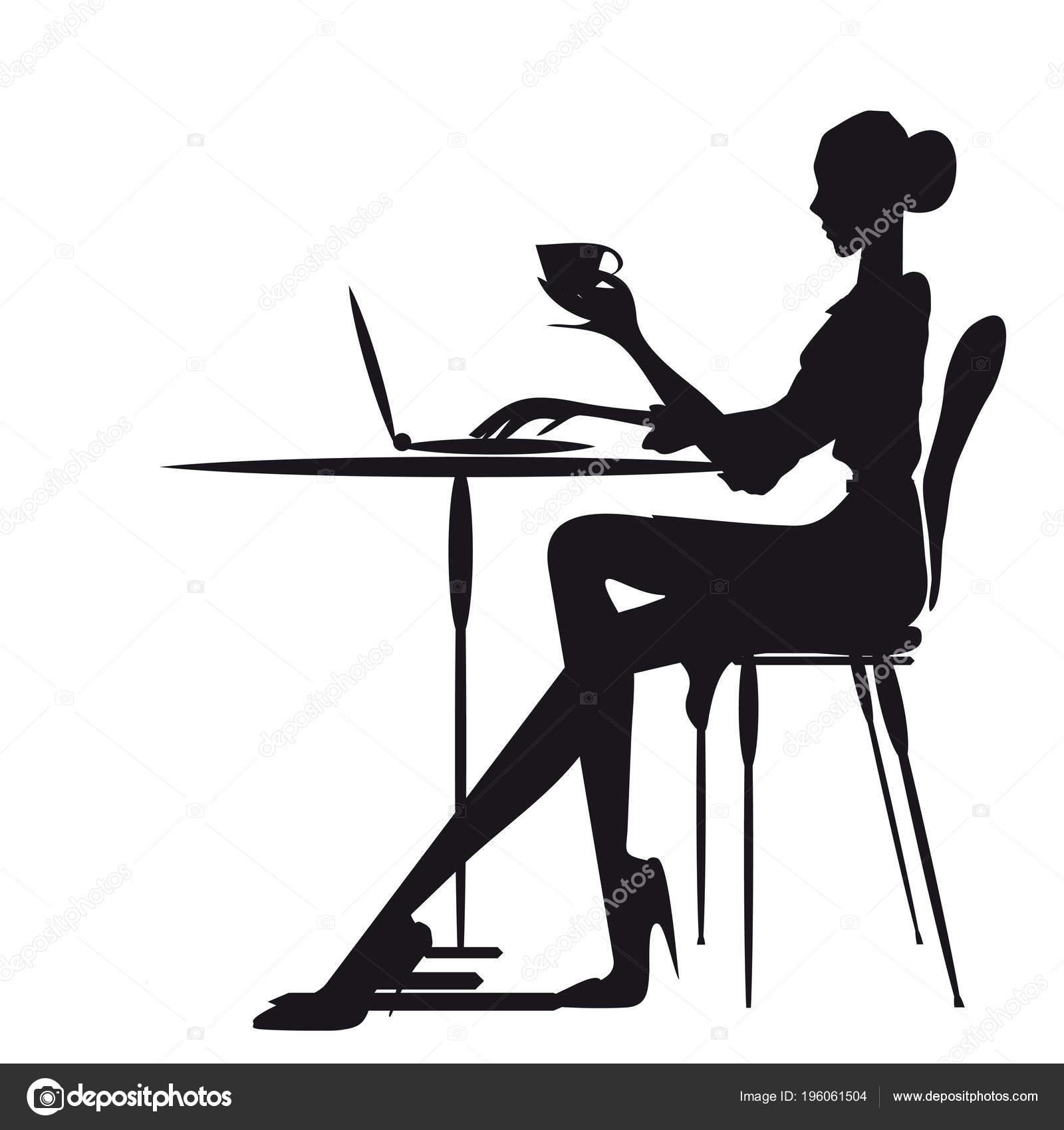 Silhueta Mulher Sentada Mesa Trabalhando Laptop Vetorial