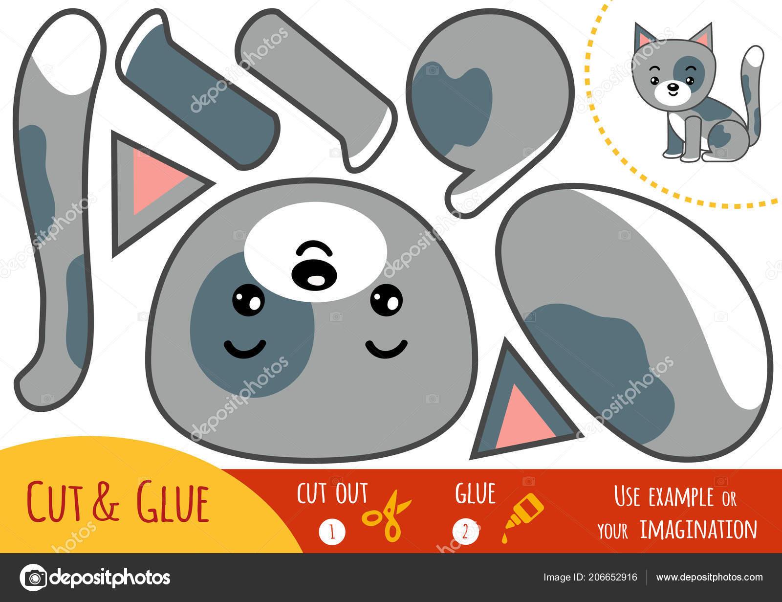 Education Paper Game Children Cat Use Scissors Glue Create