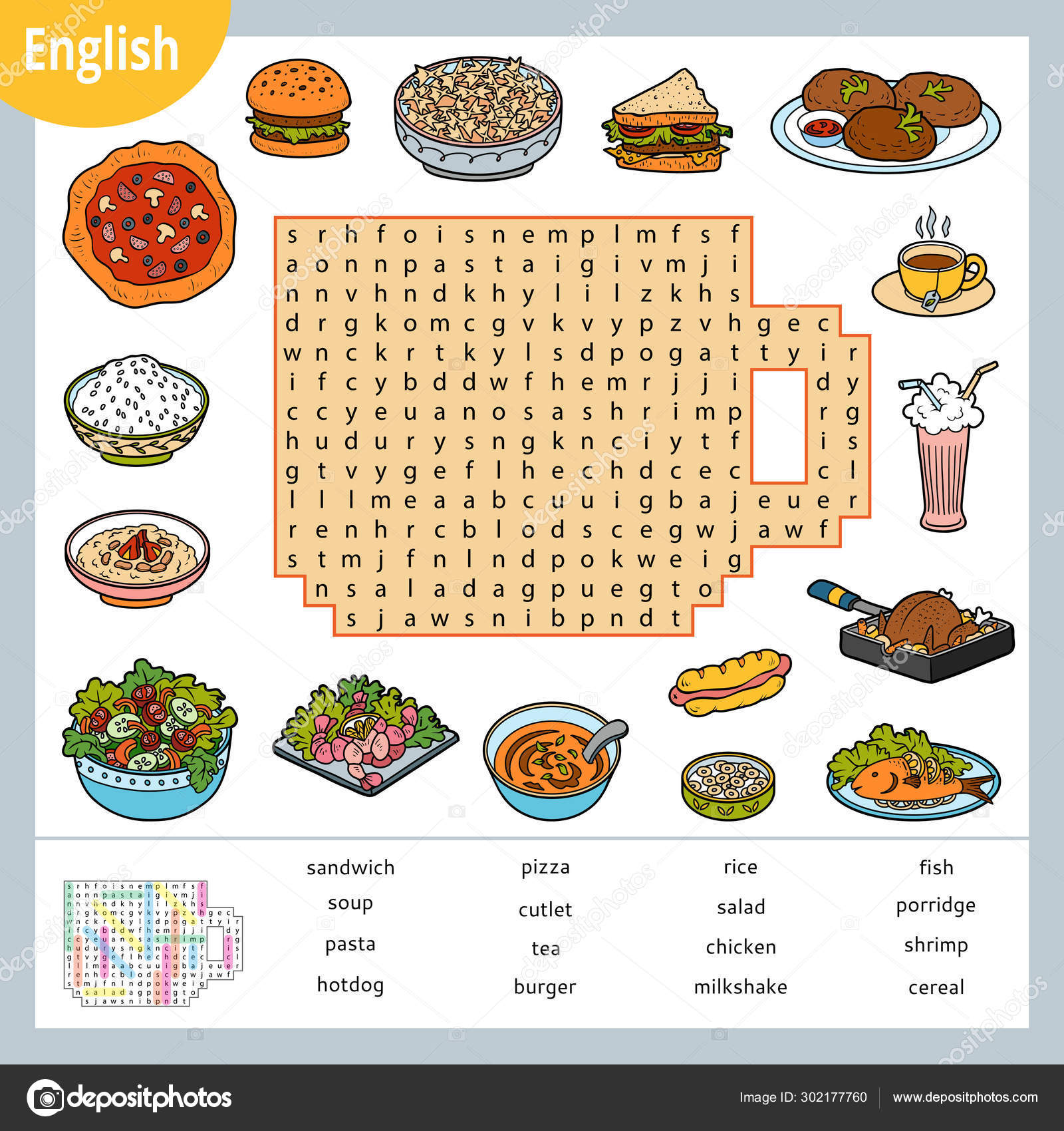 Word Search Puzzle Cartoon Set Of Food Education Game