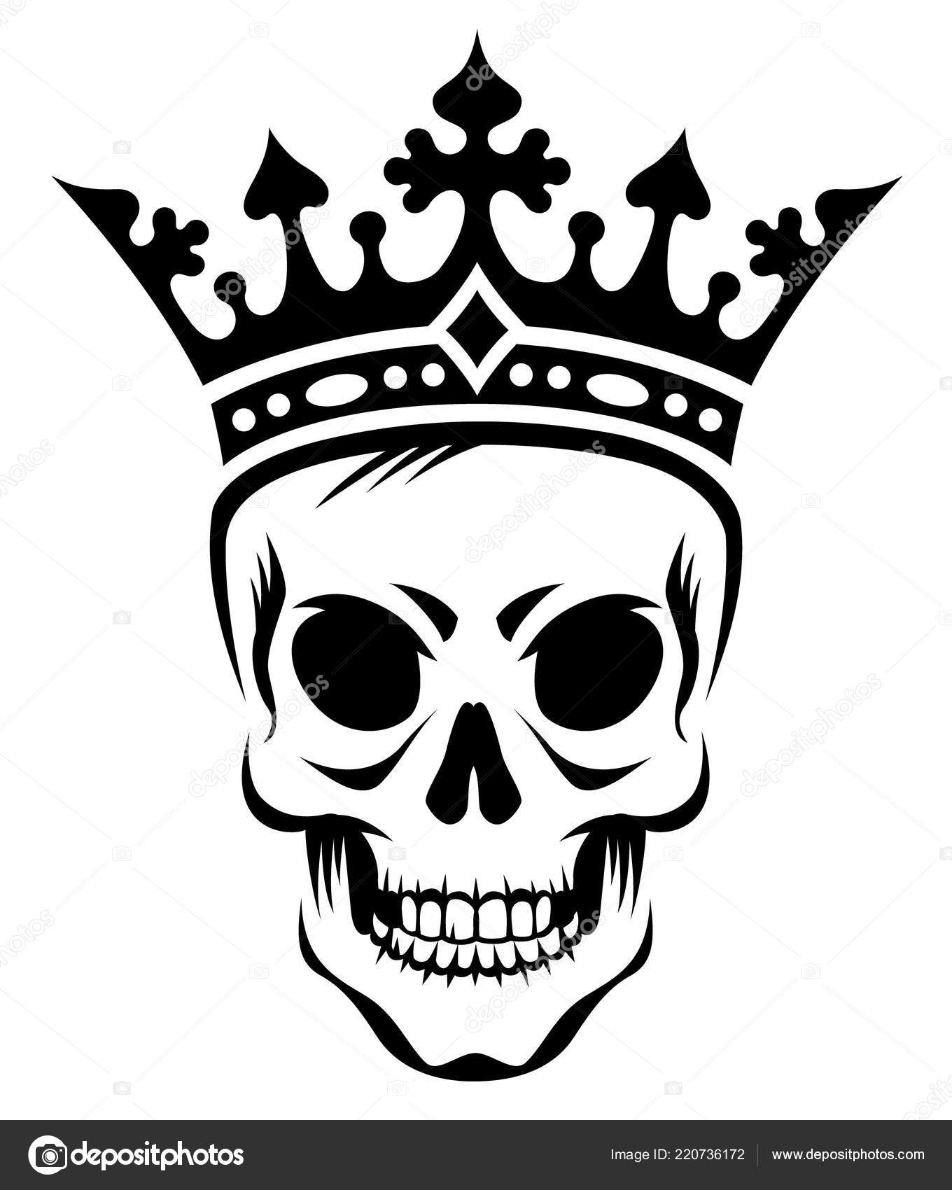 Angry Skull King Crown Stylized Black Illustration