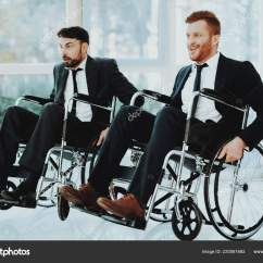 Wheelchair Man Stainless Steel Chairs For Hospitals Person Disabled Room Panoramic View White Interior People Stock Photo
