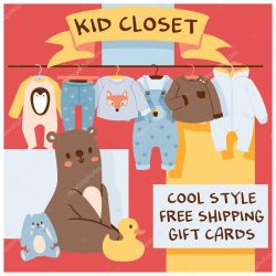 ✅ Baby shop vector cartoon kids clothing toys newborn garment childs clothes bodysuit apparel for children advertising shopping sale banner gift card backdrop illustration background premium vector in Adobe Illustrator ai