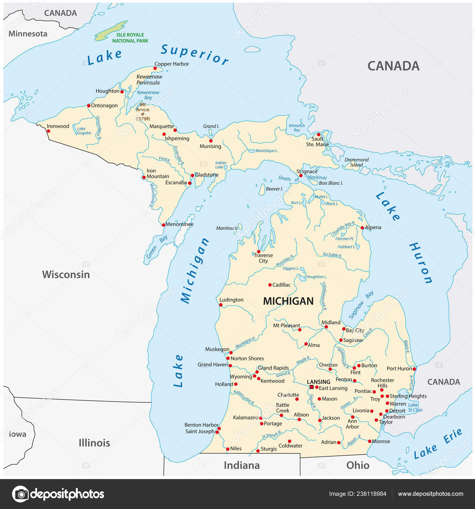 It also borders four of the great lakes, which are some of the largest reservoirs of fresh water in the world. Vector Map State Michigan Stock Vector Image By C Lesniewski 238118984