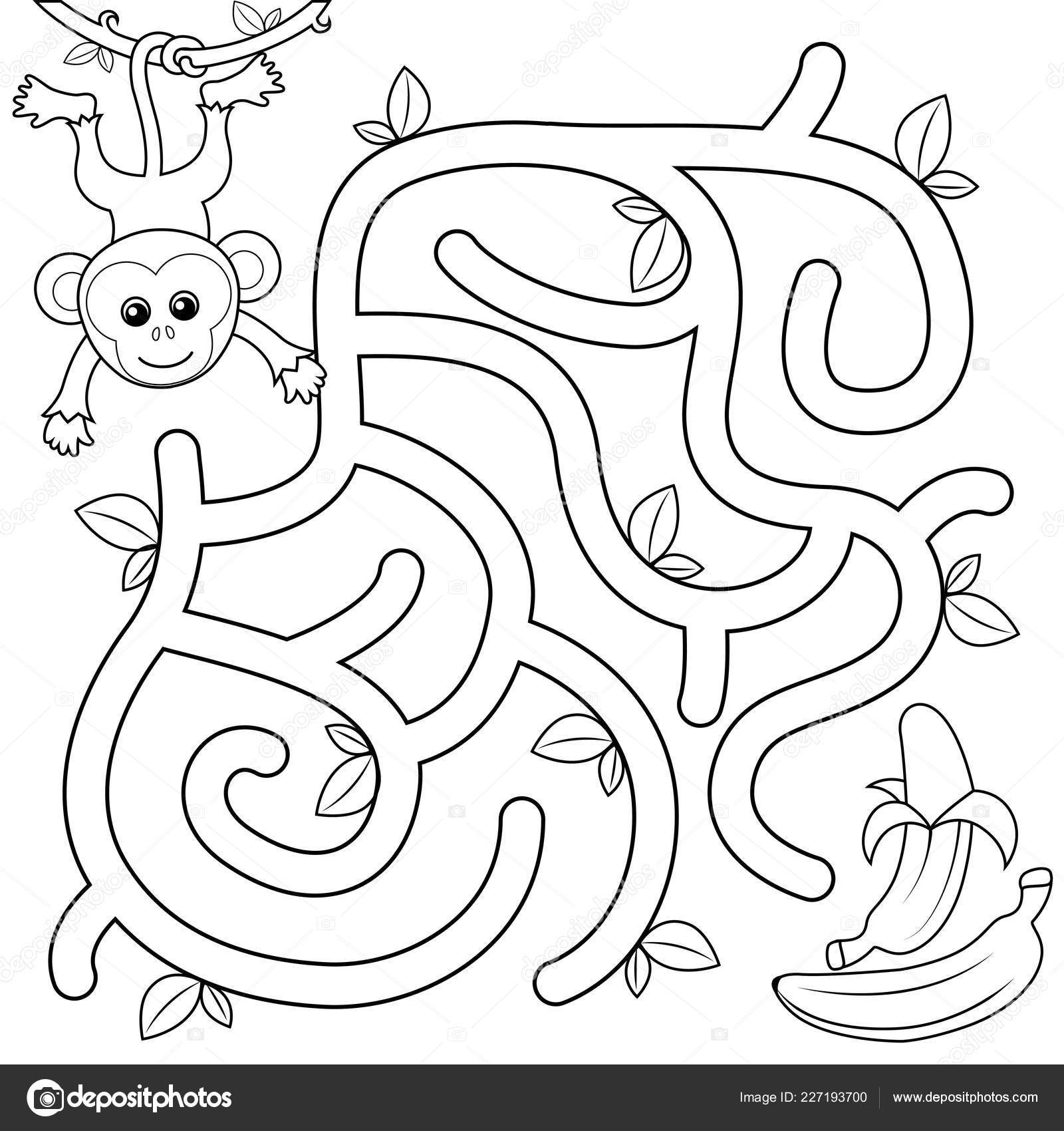 Help Monkey Find Path Banana Labyrinth Maze Game Kids