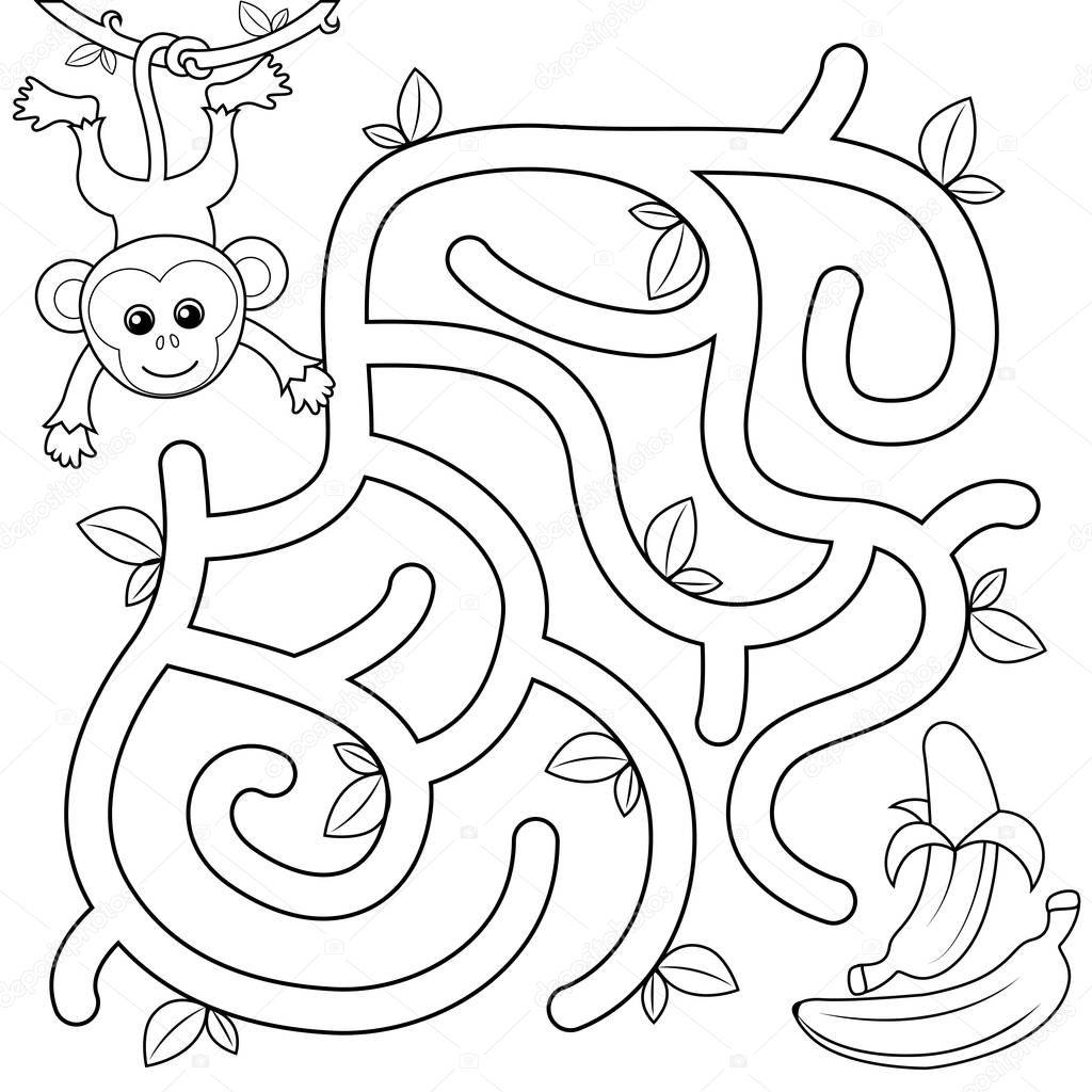 Ajude Macaco Encontrar Caminho Banana Labirinto Jogo