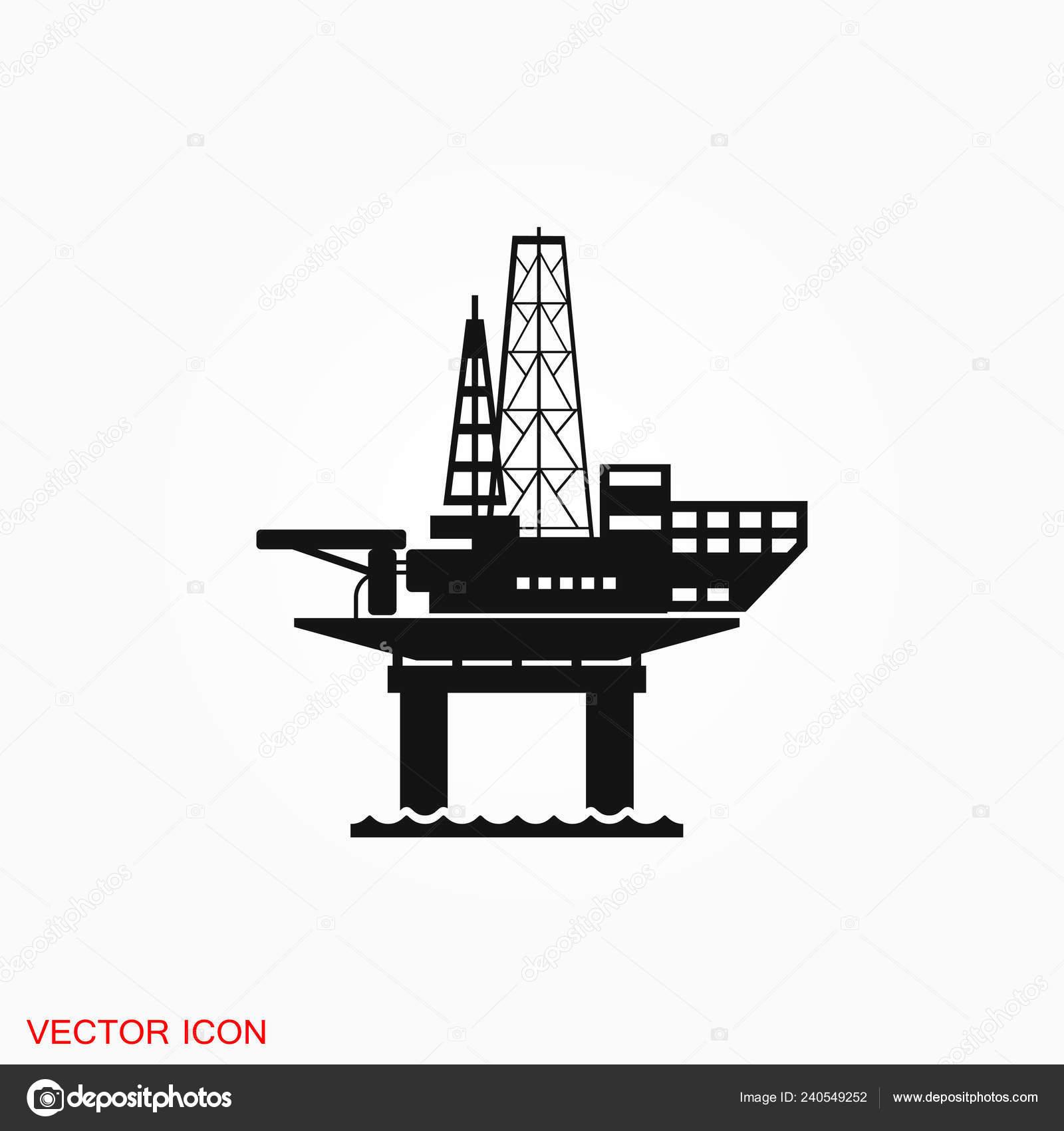 Oil Platform Iconfuel Production Logo Vector Sign Symbol