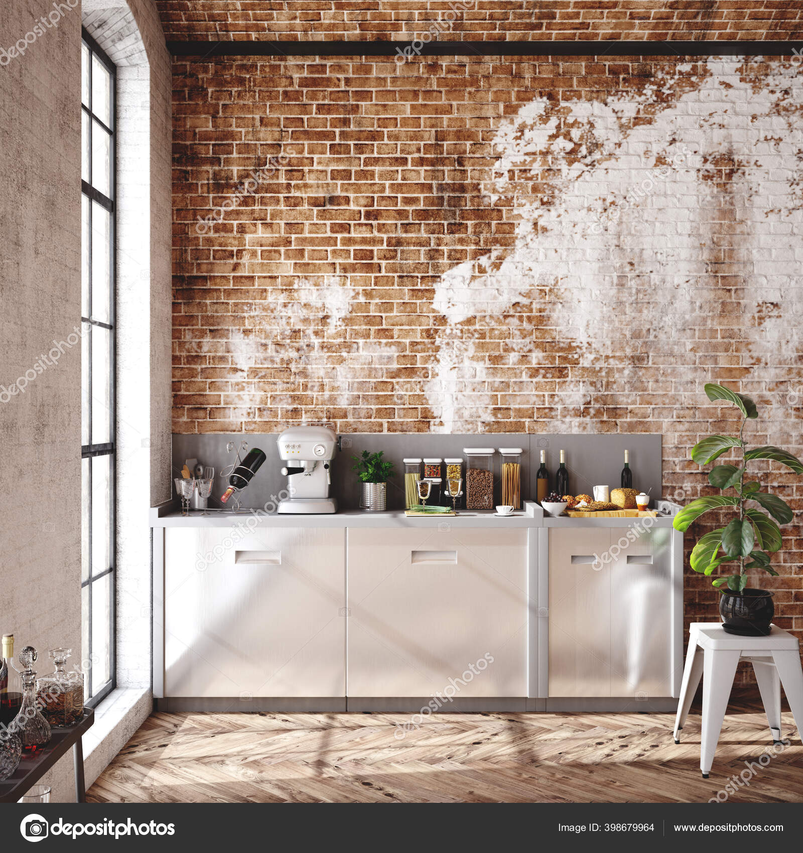https fr depositphotos com 398679964 stock photo loft apartment kitchen interior industrial html