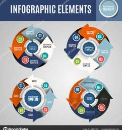 vector circle infographics set template for cycle diagram graph presentation and round chart business concept with 4 options parts steps or processes  [ 1520 x 1700 Pixel ]