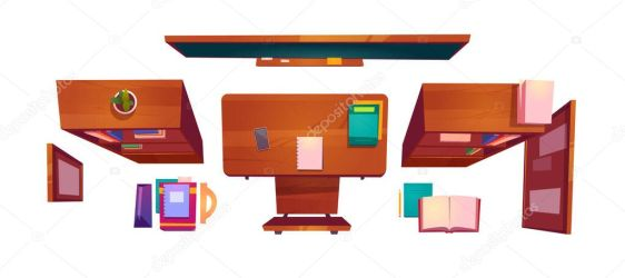✅ Classroom stuff top view school or college class interior student desk with books wooden chair blackboard and schedule hanging on wall bookcases room for studying Cartoon vector illustration premium vector