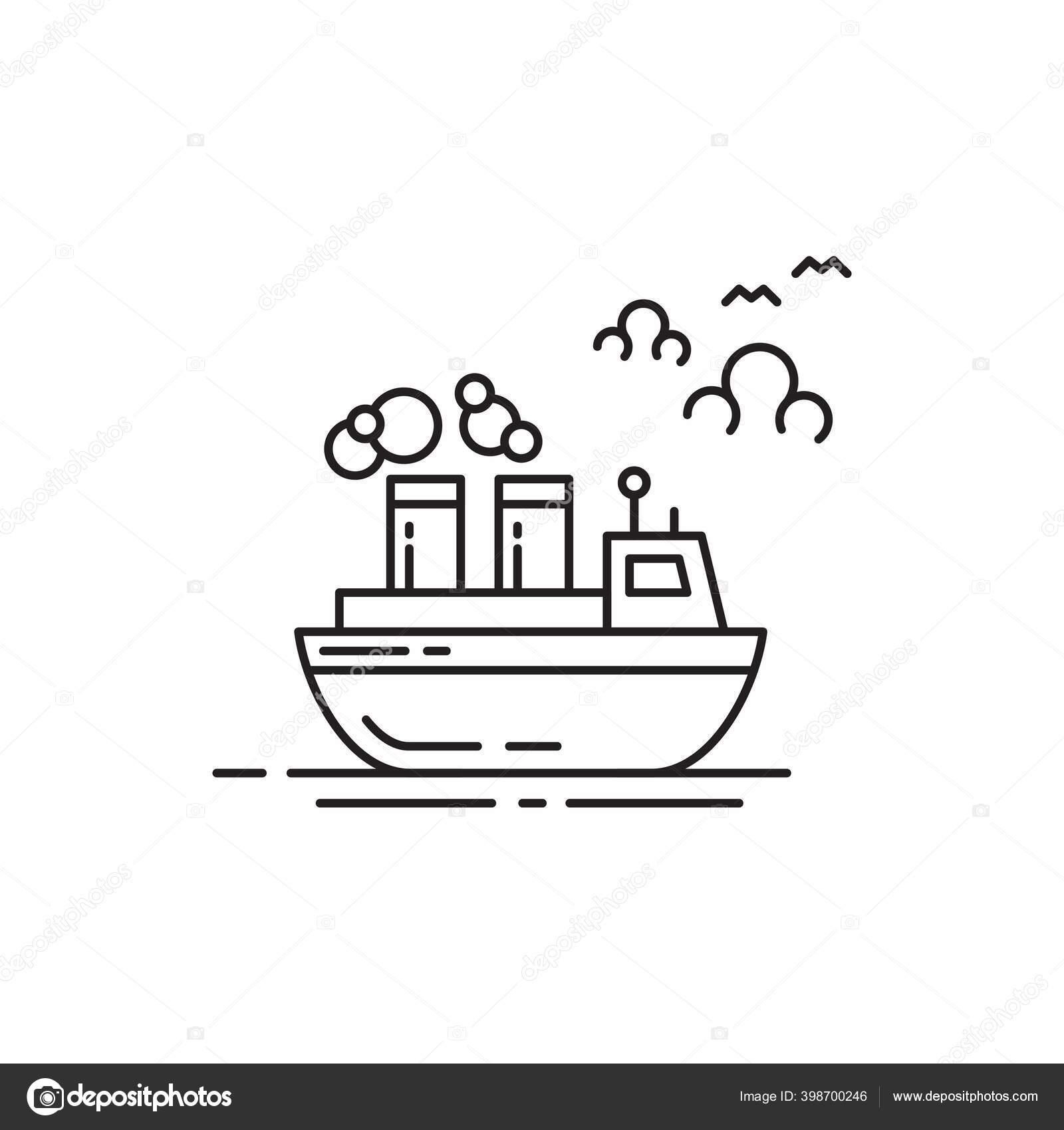 Ferry Simple Line Art Design Vector Untuk Penggunaan Transportasi Stok Vektor C Fitriyatunnasukhah Gmail Com 398700246