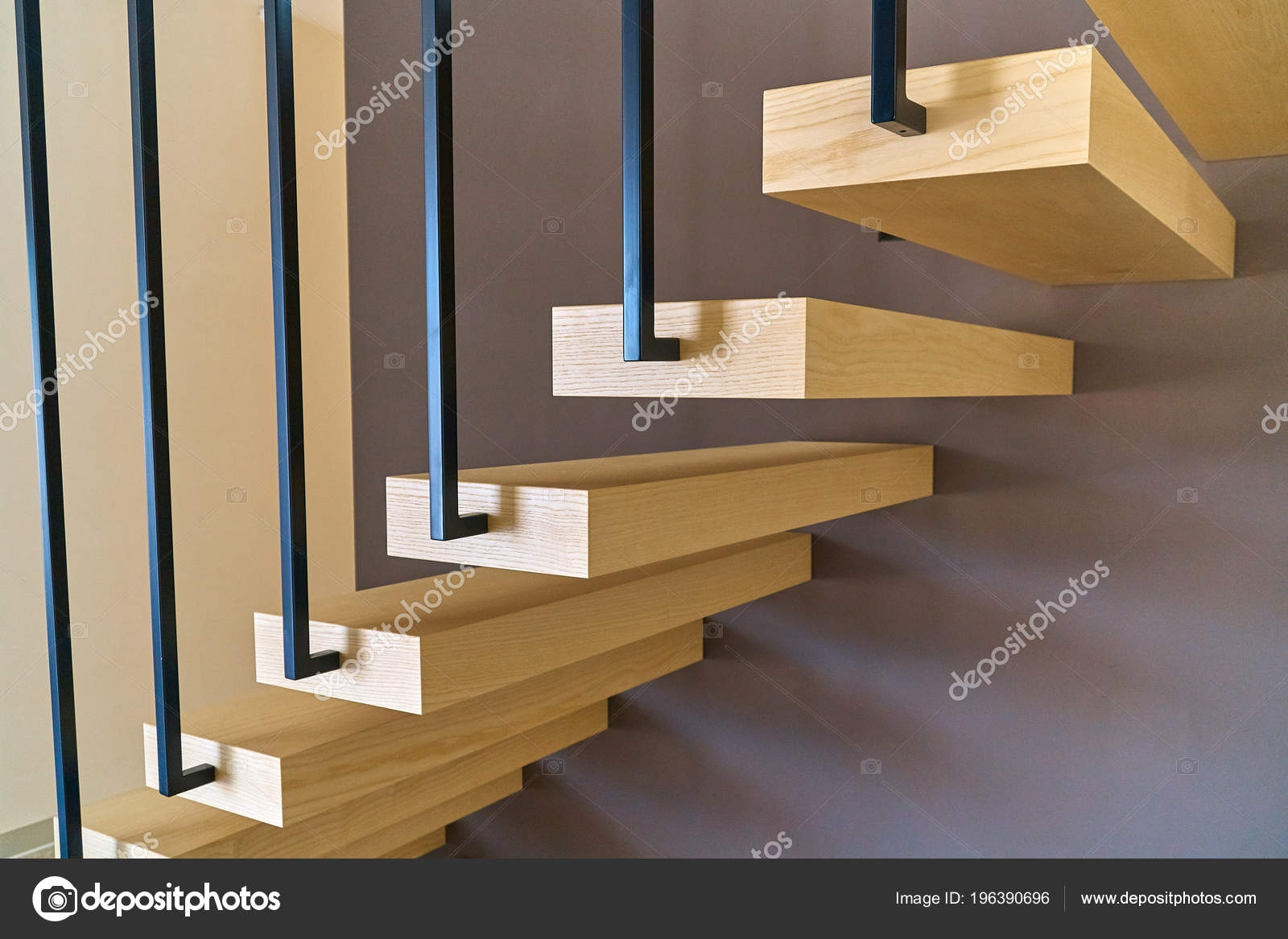 Floating Stairs Ash Lumber Stairs Railing Attached Brown Wall   Black Pipe Stair Railing   Diy   90 Degree Stair   Banister   Outdoor Stair   Stainless Steel