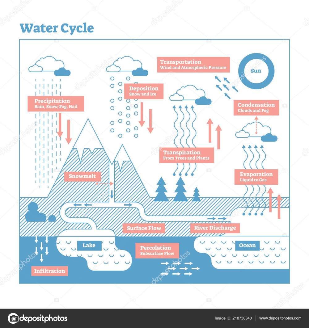 medium resolution of water cycle vector illustration diagram geo science ecosystem scheme stock vector