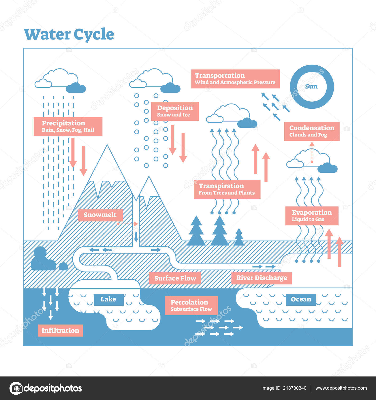 hight resolution of water cycle vector illustration diagram geo science ecosystem scheme stock vector