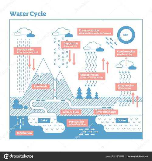 small resolution of water cycle vector illustration diagram geo science ecosystem scheme stock vector
