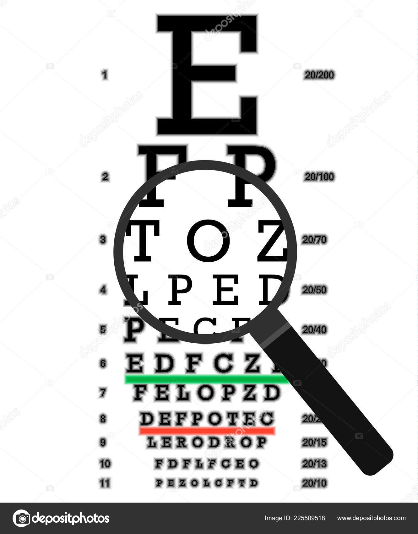 hight resolution of eye vision test poor eyesight myopia diagnostic on snellen eye test chart vision correction
