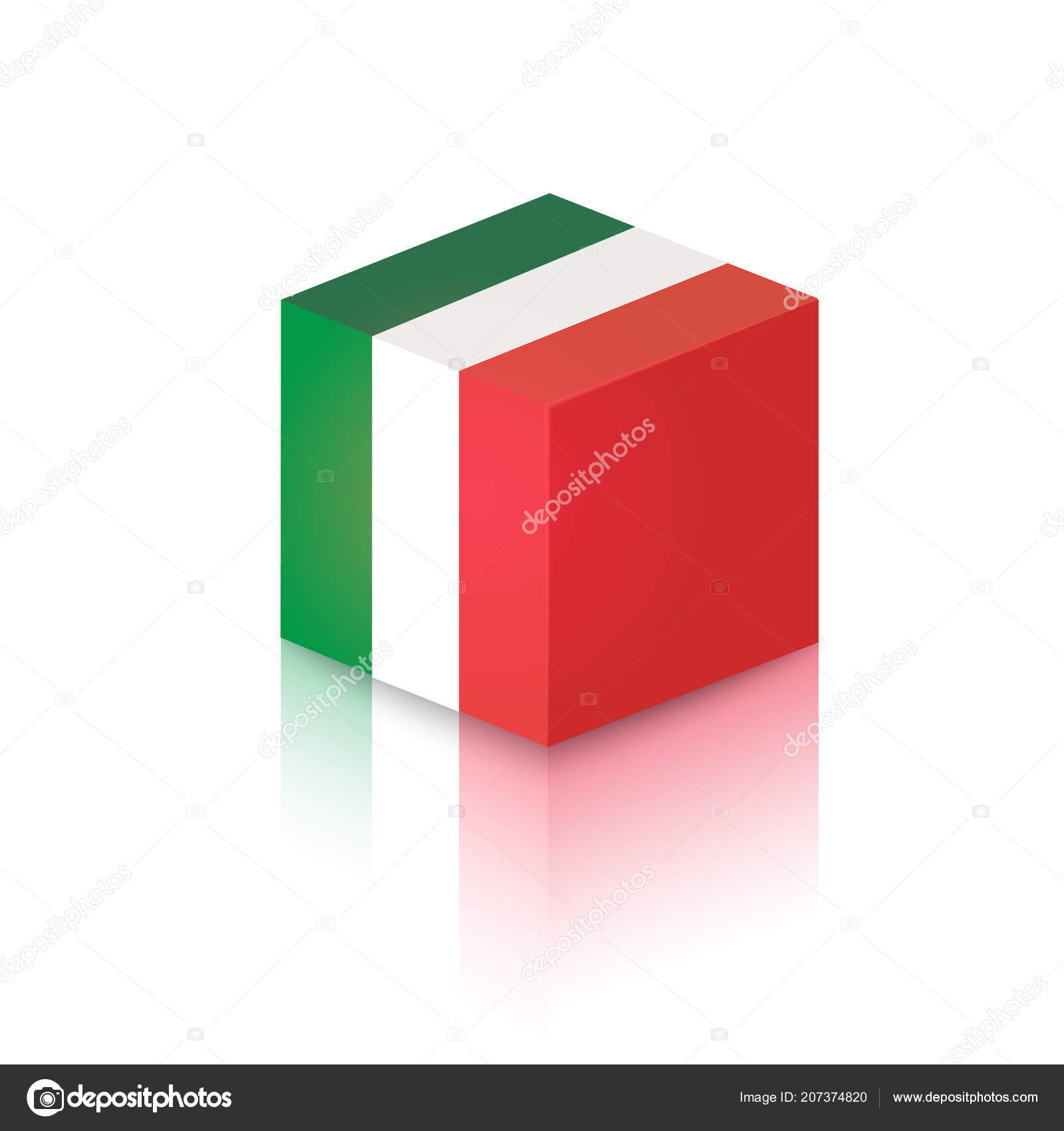 hight resolution of cube colors italian national flag vector clipart illustration decoration travel stock vector