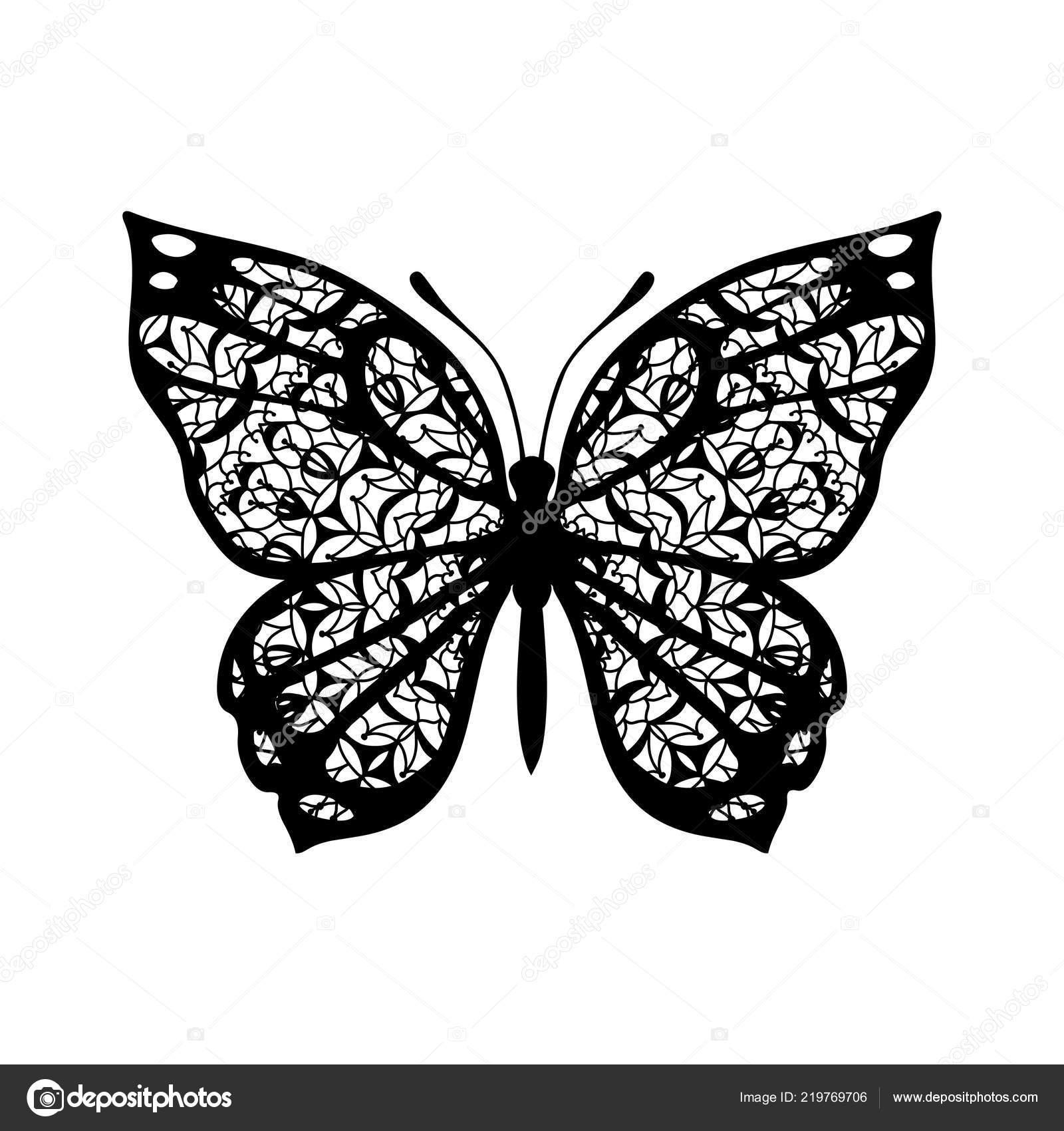 Mariposa Con Alas Con Dibujos Vector Señal Los Tatuajes Negro