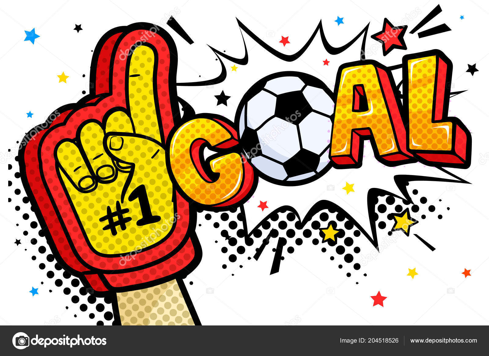Hand Glove Sports Fan Raised Celebrating Win Goal Word