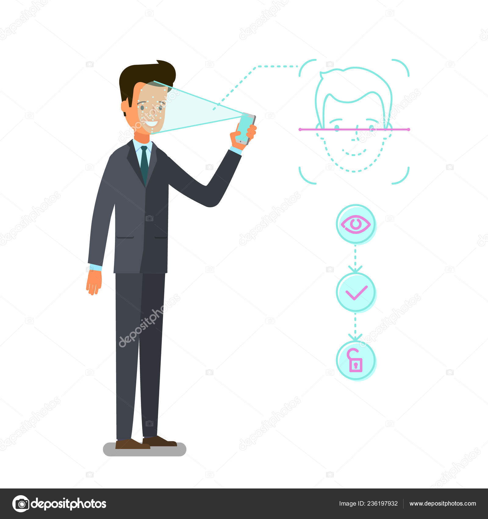 hight resolution of concept face identification cartoon business man holds smartphone his hand stock illustration