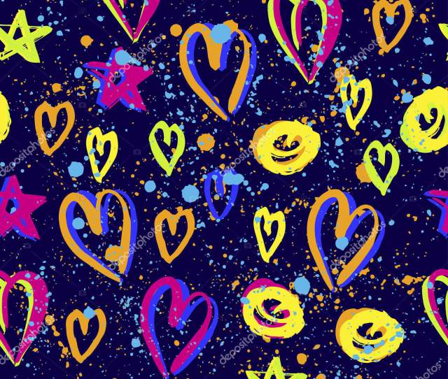 Abstract Seamless Vector Pattern For Girls Boys Clothes Creative Background With Dots Hearts Funny Wallpaper For Textile And Fabric Fashion Style