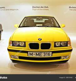 munich germany april 12 2012 display of bright yellow bmw 323i year 2000 at bmw welt in munich germany photo by kpoppie [ 1600 x 1185 Pixel ]
