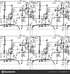 scientific seamless texture with handwritten formulas and electronic components physics and schematic diagram and circuit of the devices vector  [ 1600 x 1700 Pixel ]