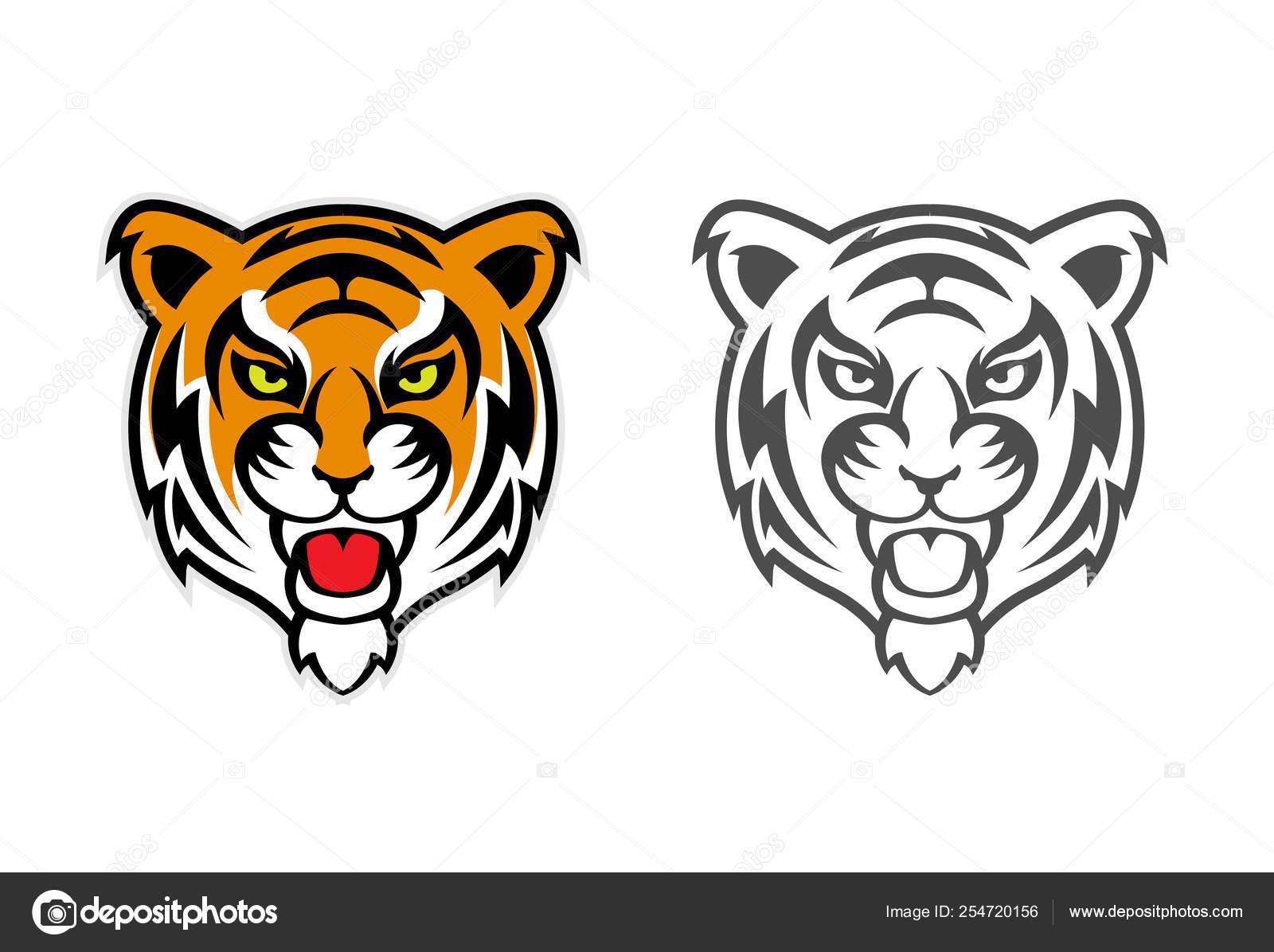 hight resolution of tiger head clipart mascot logo vector de stock