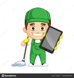servicio de limpieza clipart cartoon mascot vector de stock [ 1600 x 1700 Pixel ]