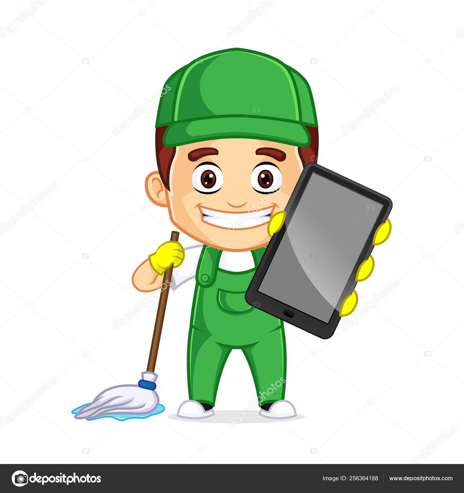 hight resolution of servicio de limpieza clipart cartoon mascot vector de stock