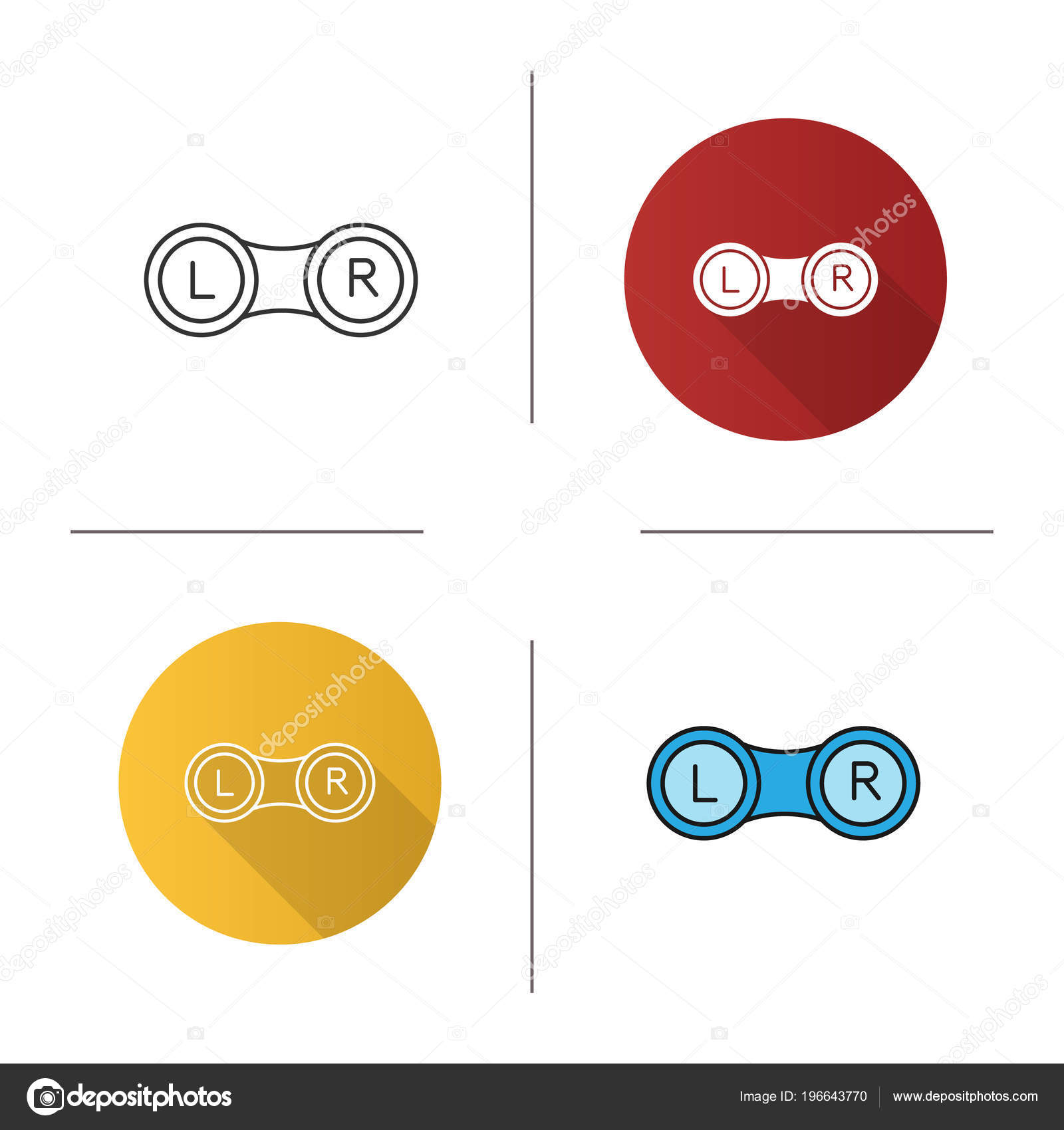 hight resolution of set eye contact lens box icon flat design linear color stock vector