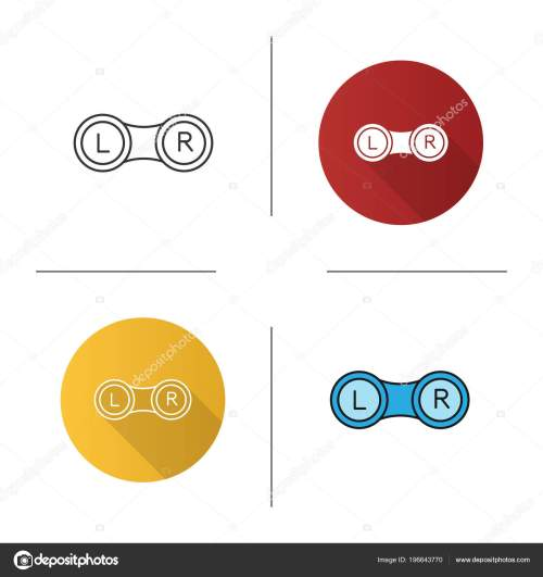 small resolution of set eye contact lens box icon flat design linear color stock vector